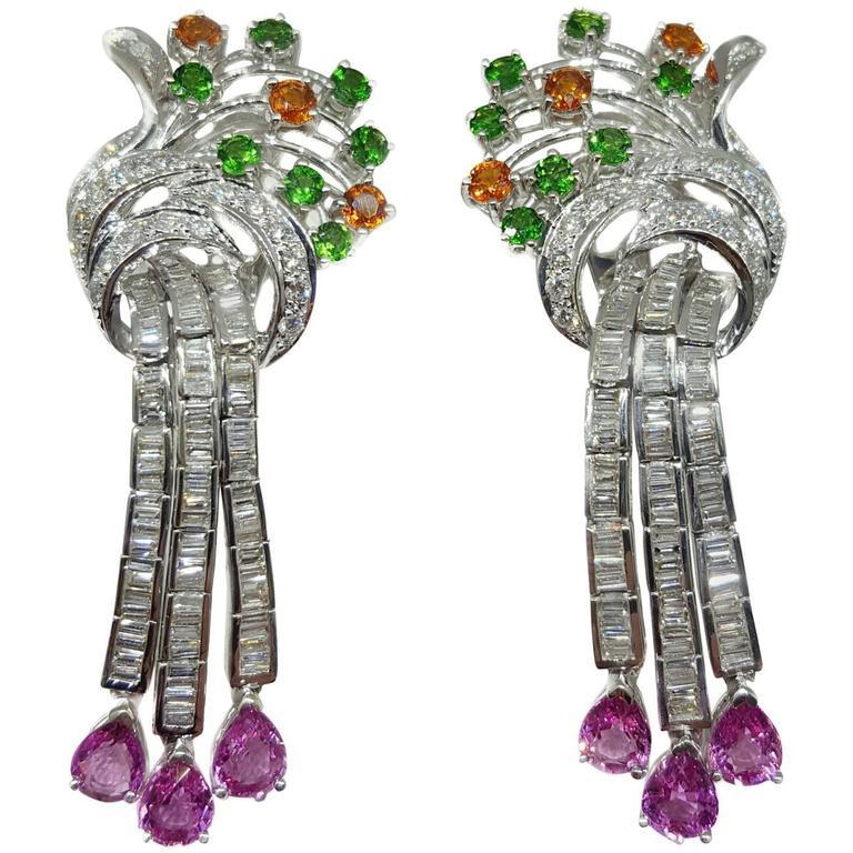 Emerald Garnet Sapphire Diamond Gold Drop Earrings For Sale