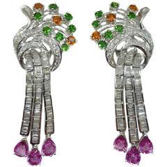 Emerald Garnet Sapphire Diamond Gold Drop Earrings