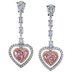 GIA Cert Pink Diamonds Two Color Gold Heart Shape Dangling Earrings
