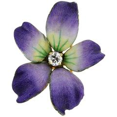 Art Nouveau Wild Violet Enamel Diamond Gold Brooch