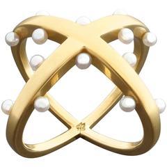 Angela Hubel 'Pearl Mesh' Pearl Gold Modernist Ring