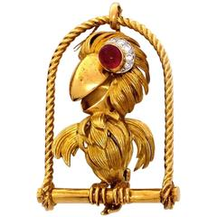 Ruby Diamond Gold Parrot Pendant Brooch