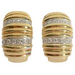 Diamond Gold Ridged Half Hoop Earrings