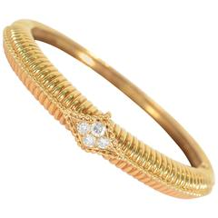 Van Cleef & Arpels Diamond Gold Bangle Bracelet