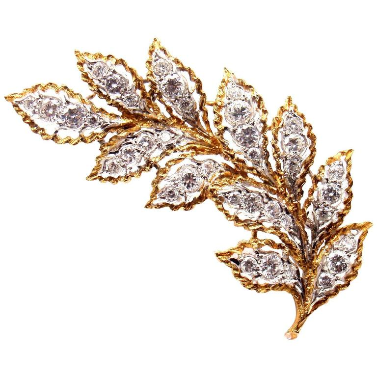 Mario Buccellati Diamond Gold Leaf Pin Brooch