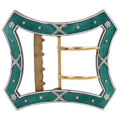 Cartier Paris Belle Epoque Garland Style Enamel Diamond Gold Belt Buckle