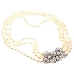 Mikimoto Triple Strand Cultured Akoya Pearl Diamond Platinum Necklace
