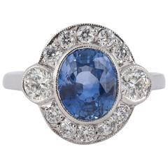 Ring,Pale Ceylon Sapphire Diamond Gold Cluster ,mounted in 18ct gold,c,1990