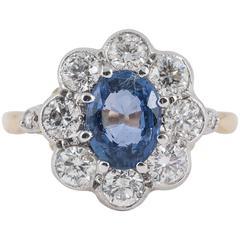 Pale Ceylon Sapphire 8 Stone Diamond Gold Cluster Ring