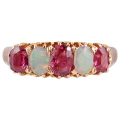 Victorian Opal Ruby Gold Ring