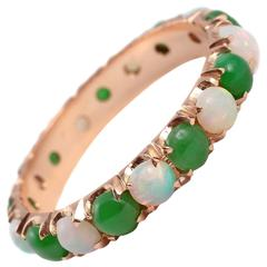 Opal Jade Gold Eternity Ring