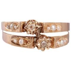 1890s Seed Pearl Diamond Gold Love Token Ring