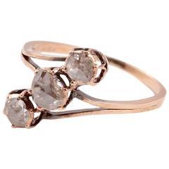 1900s Spain Rose Cut Diamond Gold Ring