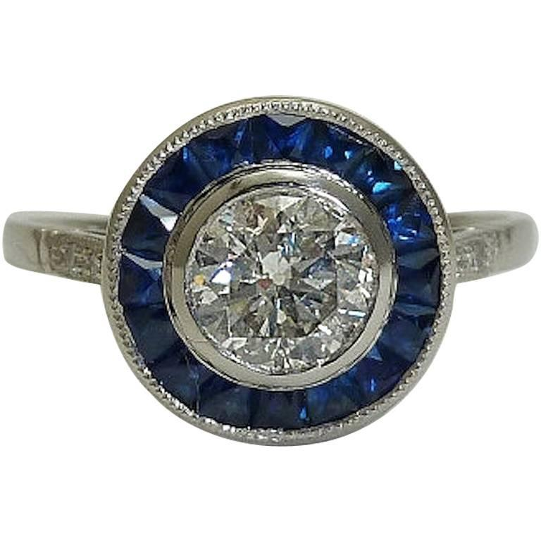 deco style sapphire and target ring in