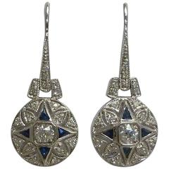 Stunning French Cut Sapphire and Diamond Earrings in Gold