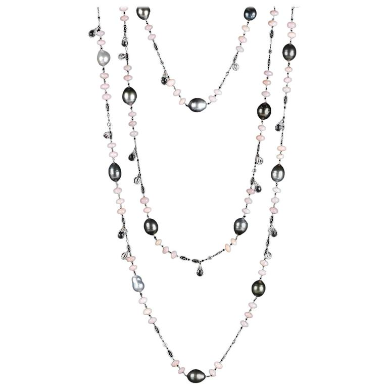 Alexandra Mor Sautoir Necklace with Baroque Tahitian Pearls Pink Opal Diamond 1