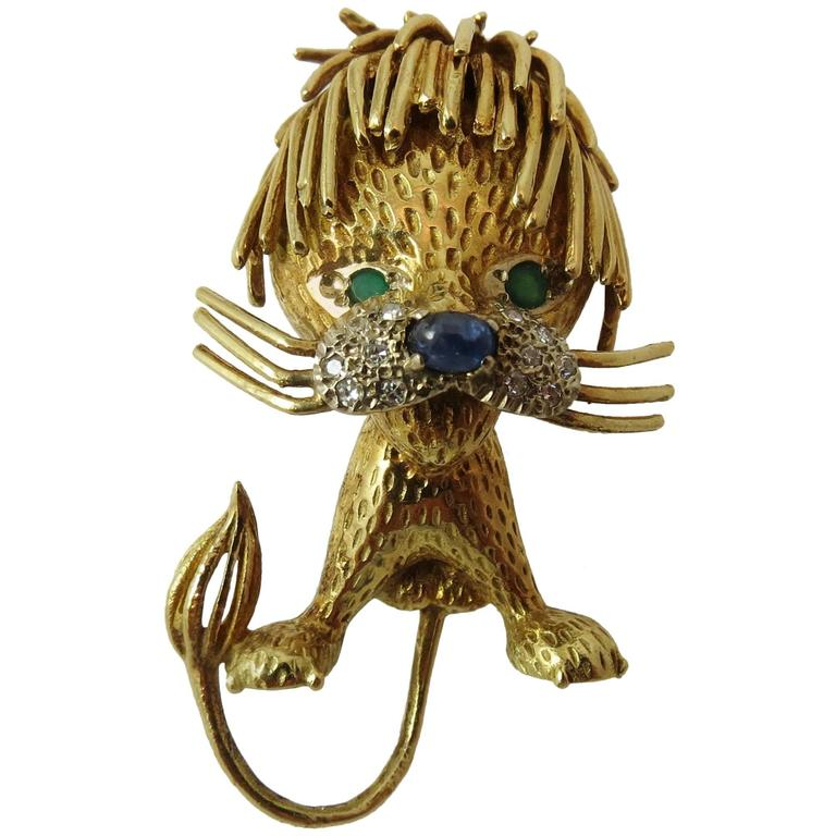 1970s Delightful Gold Tousle-Headed Lion Pin