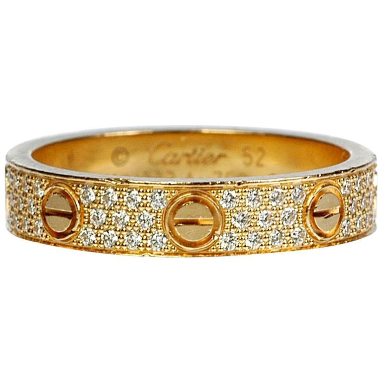 Cartier Diamond Gold Love Wedding Band Ring For Sale