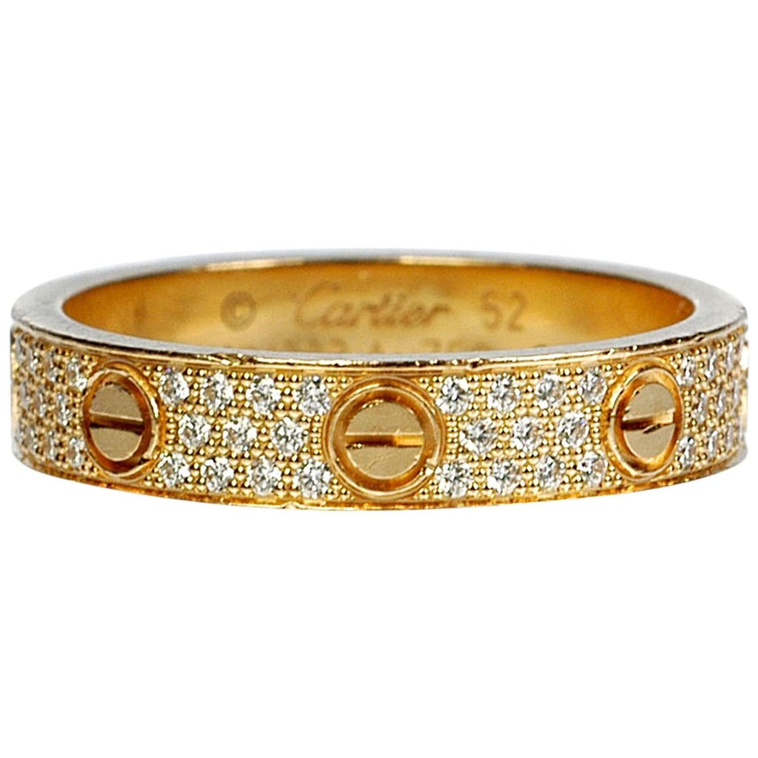 cartier diamond gold love wedding band ring for sale at
