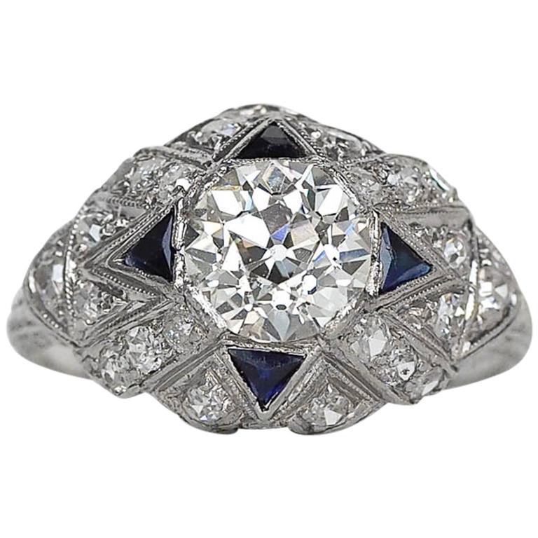 1930s Art Deco 1.28 Carat GIA Certified Old European Diamond Engagement Ring