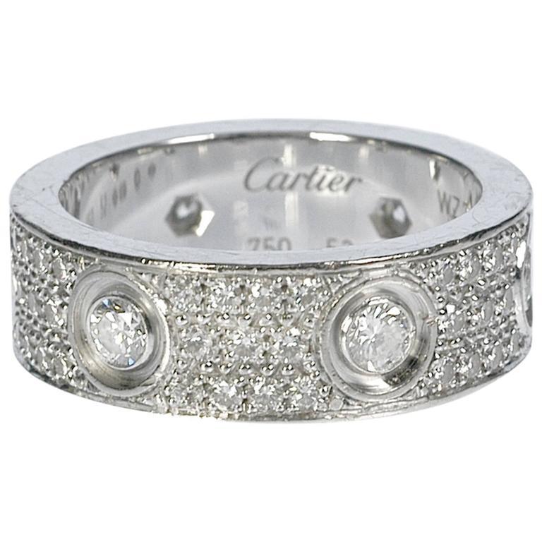 cartier diamond gold love wedding band ring at 1stdibs