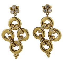 Temple St Clair Moonstone Diamond Gold Drop Earrings For