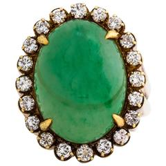 Important Grand Retro Oval Jade Cabochon Diamond Gold Ring