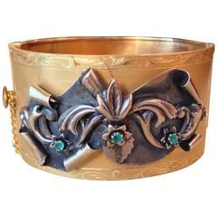 Antique Emerald Gold Wide Flower Motif Bangle Bracelet