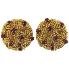 1960s Ruby Woven Gold Earrings