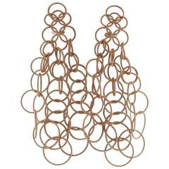 Long Buccellati Hawaii Rose Gold Pendant Earrings