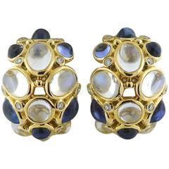 Temple St. Clair Gold Buddha Belly Tanzanite Diamond Hoop Earrings