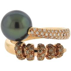 Mikimoto Pearl Diamond Gold Swirl Ring