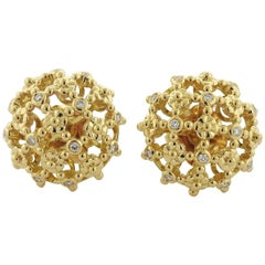 Temple St. Clair Diamond Gold Fiori Cluster Earrings