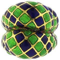 Large Blue and Green Enamel Gold Dome Ring