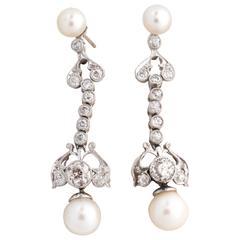Art Deco Pearl Old Mine Diamond Gold Drop Earrings