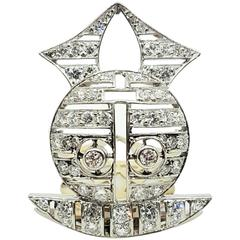 Diamond Gold Platinum Owl Clip