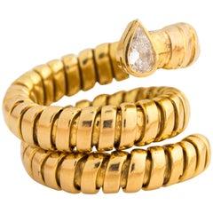 1950s Serpent Pear Shape Diamond Gold Tube Coil Ring