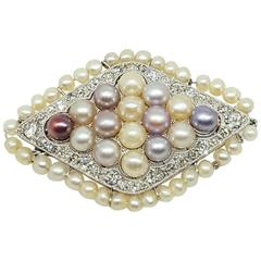 Edwardian Pearl Diamond Platinum Pin