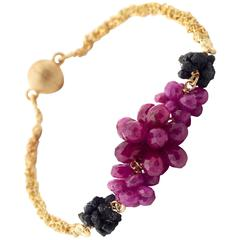Donna Brennan Ruby Briolette Rough Black Diamond Gold Bracelet