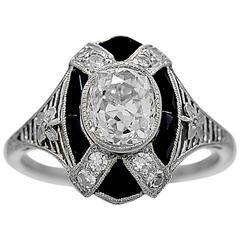 Art Deco 1.10 Carat Diamond Onyx Platinum Engagement Ring