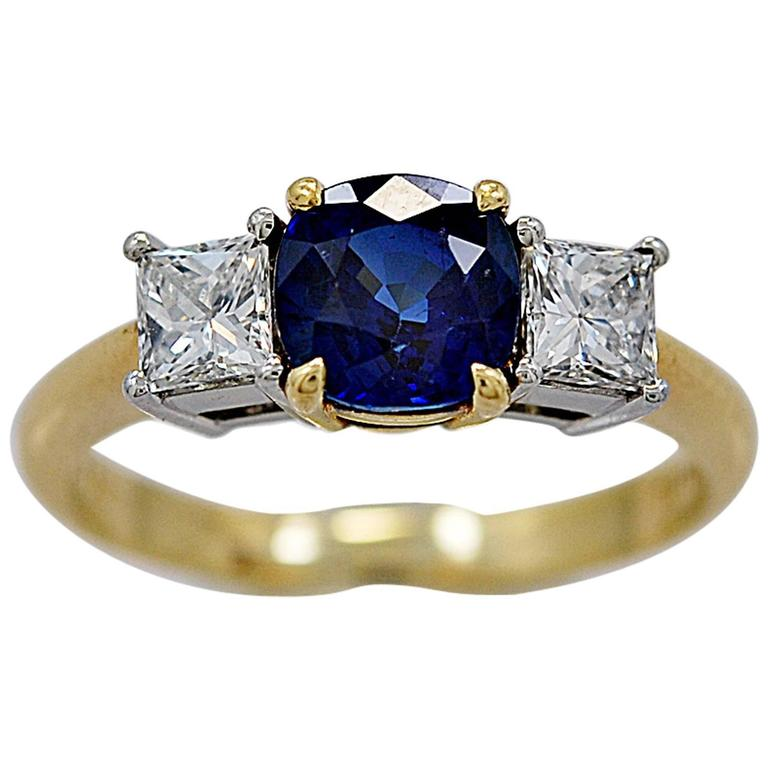 Tiffany and Co 1 05 Carat Sapphire Diamond Gold Platinum Engagement Ring For