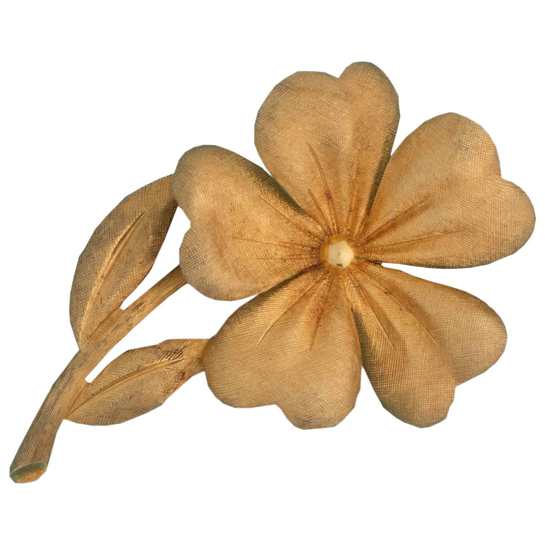 1960s Tiffany & Co. 18 Karat Gold Flower Brooch