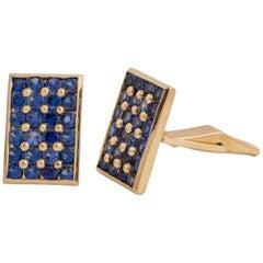 1960s Vintage Sapphire and 14 Karat Yellow Gold Handmade Cufflinks