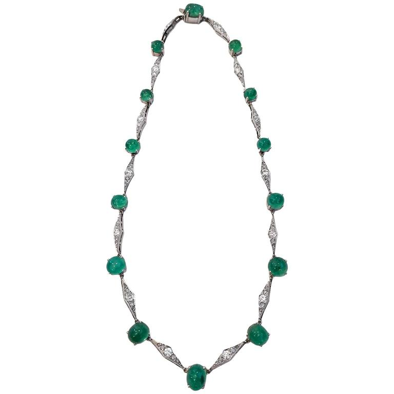 Art Deco Emerald Diamond Platinum Choker Necklace 2