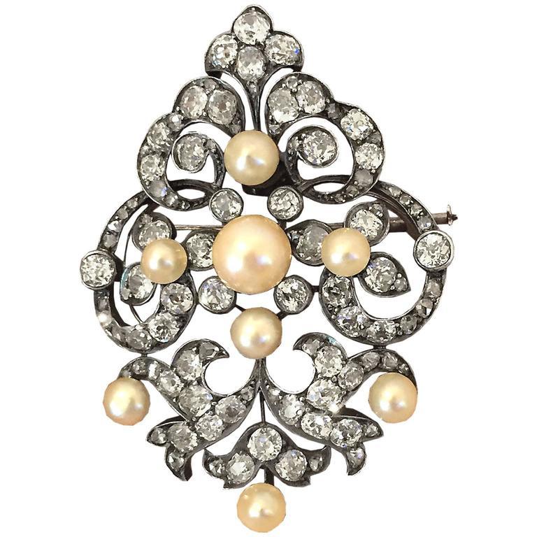 Elegant Victorian Pearl and Diamond Brooch/Pendant 1