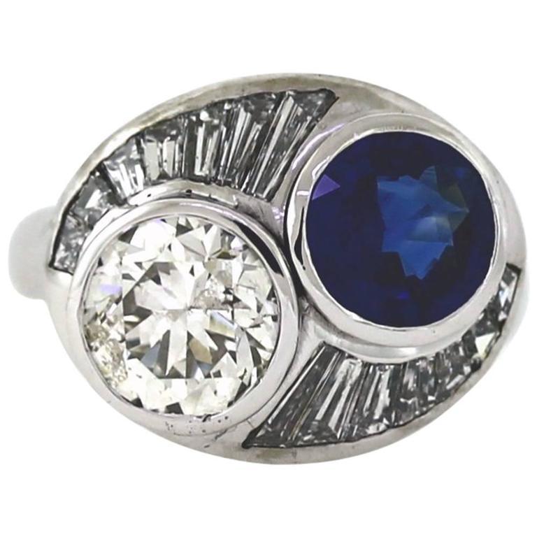 2.50 Carat Round Sapphire 2.19 Carat Diamond Gold Bypass Ring