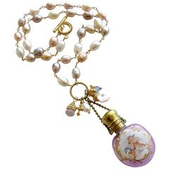 Pink Pearls Cherub Chatelaine Scent Bottle Necklace