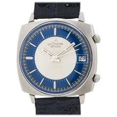 Lecoultre Stainless Steel Memovox Alarm Manual Wind Wristwatch