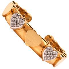 Diamond Gold Heart Motif Bangle Cuff Bracelet