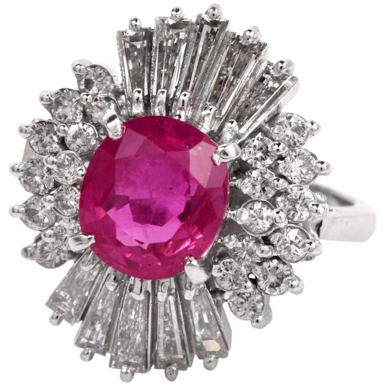 Ruby Baguette Diamond Platinum Ballerina Ring